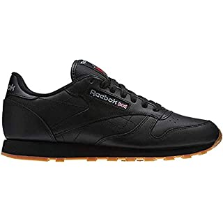 Reebok Men's Classic Leather Casual Sneakers, Black/Gum, 10 M US