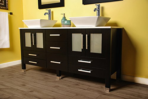 Cambridge Plumbing 71 inch Solid Wood Bathroom Vanity is Compete with a White Porcelain Counter top and Two Matching White Vessel Sinks, Two Mirrors, and Brushed Nickel faucets and drains.