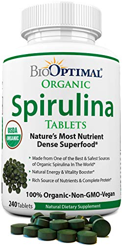 Organic Spirulina Tablets, 100% USDA Organic, Premium Quality 4 Organic Certifications, Non-GMO, No Additives Capsules or Fillers, 240 Count 2 Month Supply