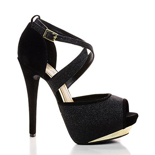 Stiletto Criss Cross Ankle Strap (Baha14 Black Iks Sparkling Hidden Metallic Platform Stiletto Buckle Ankle Strap-7.5)