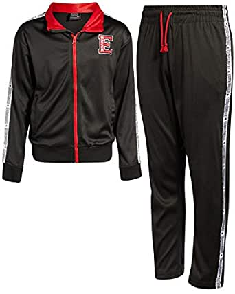Enyce Boys Activewear 2 Piece Performance Tracksuit Set with Long Sleeve Top and Pants, All Black, Size 5/6'