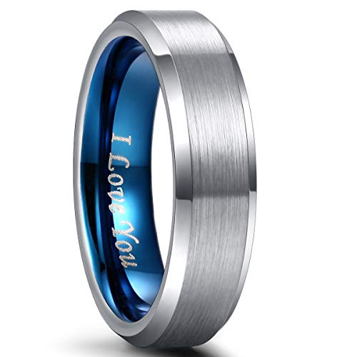 - Mens Wedding Rings Band Tungsten Carbide Ring for Women Engagement Band 6mm 8mm Comfort Fit Engraved 'I Love You' (7, 13)