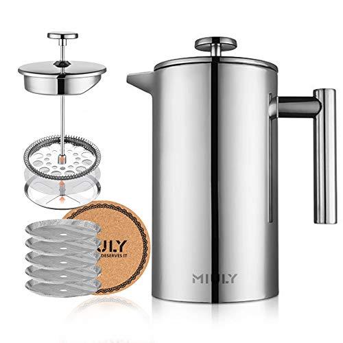 Cafetera de émbolo Miuly, 1 litro, prensa francesa, doble pared, acero inoxidable, cafetera con 5 filtros de acero…