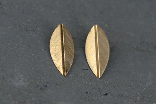 (Gold Leaf Stud Earrings, Golden Petal Posts)