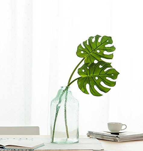 HNXZL 2 Pcs Artificial Monstera Plant Tropical palm Leaf Fake Flowers for Living Room Table Wedding Party Home Decorations