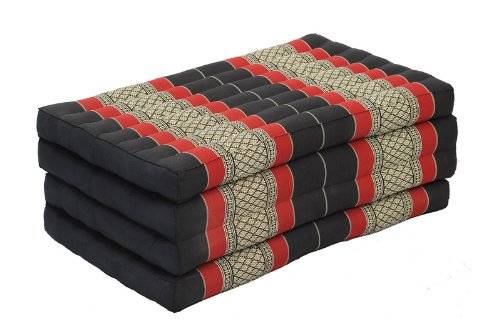 Comfort Zone Set: Foldable Matress + 4 Pillows in Traditional Thai Design Burgundy&black (All Filled with 100% Kapok) by Handelsturm (Image #3)