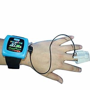 BLYL Muñequera CMS-50F Monitor de Saturación de Oxígeno y Medición de la Frecuencia Cardíaca con Pantalla OLED para la Salud Deporte, Cuidado de la Salud en el Hogar, Azul 4