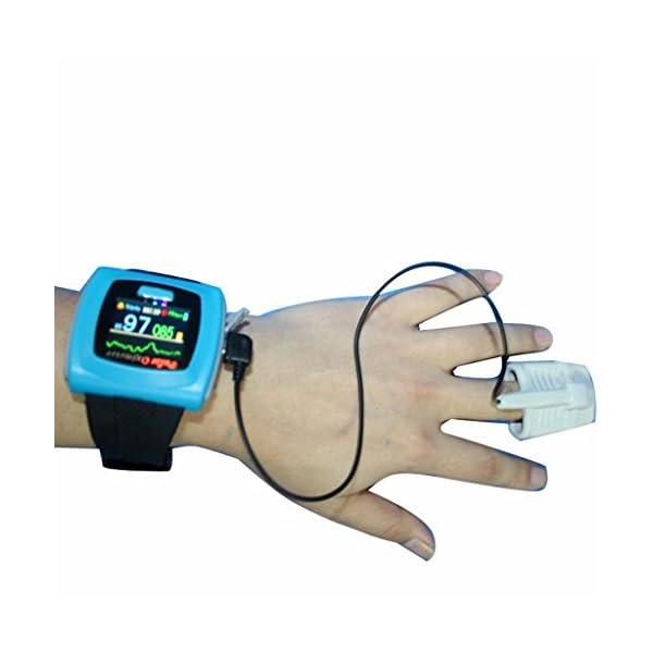 BLYL Muñequera CMS-50F Monitor de Saturación de Oxígeno y Medición de la Frecuencia Cardíaca con Pantalla OLED para la Salud Deporte, Cuidado de la Salud en el Hogar, Azul OXIMETER 2