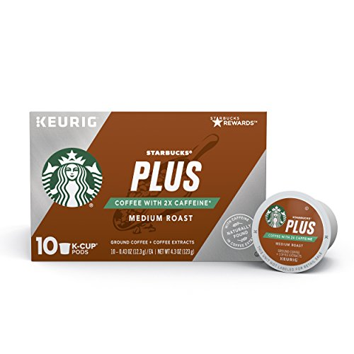 Starbucks Plus Coffee Medium Roast 2X Caffeine Single Cup Coffee for Keurig Brewers, 6 Boxes of 10 (60 Total K-Cup Pods)