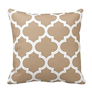 Camel Brown and White Decorative Cushion Covers Throw Pillow Case Moroccan Quatrefoil Pattern Print Square Two Sides 16X16 Inch
