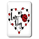 3dRose Janna Salak Designs Love - Love Bug Ladybug - Light Switch Covers - single toggle switch (lsp_289653_1)