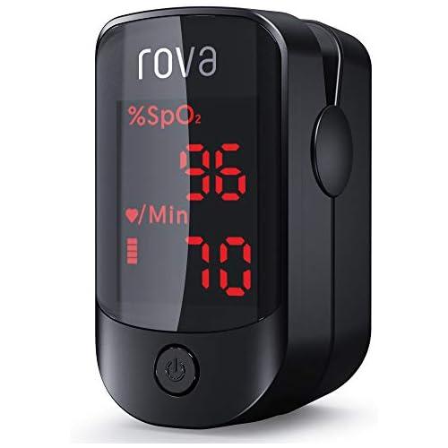 chollos oferta descuentos barato Oxímetro de pulso Rova con monitor de saturación de oxígeno sanguíneo con bolsa de transporte baterías cordón OLED Display FDA CE Certificación negro