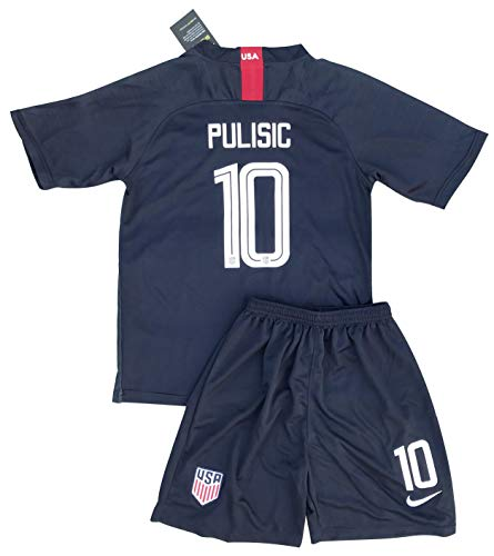 New 2018-2019 Pulisic #10 USA National Team Away Soccer Jersey & Shorts for Kids/Youths (Ages: 7-8)