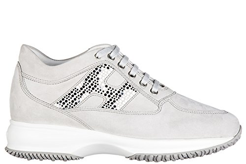 Hogan scarpe sneakers donna camoscio nuove interactive double pois grigio