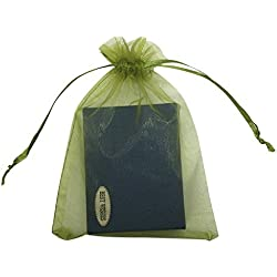 "SUNGULF 100pcs Organza Pouch Bag Drawstring 5""x7"" 13x18cm Strong Gift Candy Bag Jewelry Party Wedding Favor (Moss Green)"