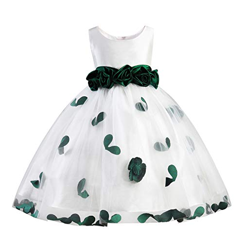 Girls Tutu Bow Dress Petals Princess Flower Dress with 3D Roses for Birthday Wedding Party (6/7, Green)