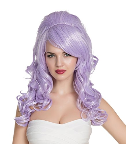 Halloween Cartoon Characters (EDENKISS Cartoon Movie Character Cos-play Wig Adjustable for Both Adult and Kid with Free Wig Cap (LC50 / Mermaid Lavender)
