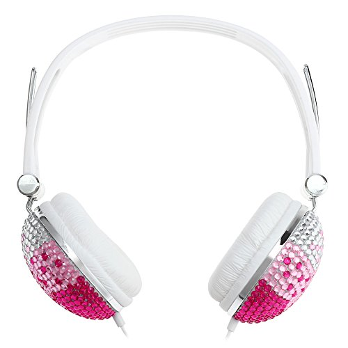 Smartlife Artificial Crystal Rhinestone Bling Over Ear Headphones Hi- Fi Stereo Low Bass with Anti-noise Music Function for Computer,DJ,Mobile phone,Portable Media Player,Sport (red with - Bass Sport