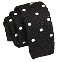 D.berite Mens Party Skinny Knit Knitted Neck Tie Neckties Black White Polka Dots