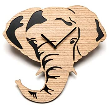 Driini Wooden Elephant Wall Clock with Light, Richly Colored Wood Face overlying a Dark Backing - Battery Operated with Silent Sweep Movement - Perfect Home Decor or Gifts for Elephant Lovers