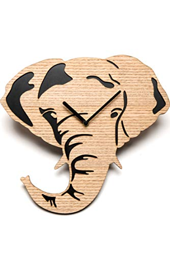 Elephant Clock - Driini Wooden Elephant Wall Clock with Light, Richly Colored Wood Face overlying a Dark Backing - Battery Operated with Silent Sweep Movement - Perfect Home Decor or Gifts for Elephant Lovers