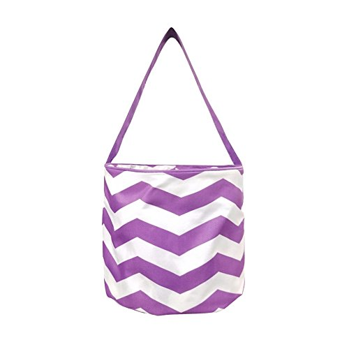 the Coral Palms Halloween Polyester Trick-or-Treat Easy Carry Lined Bucket Tote Bag - Purple Chevron]()