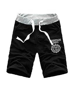Guo Nuoen Mens Cargo Shorts Pants Casual Summer Beach Sport Joggers Plain Half Trousers Black