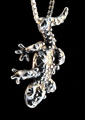 Lizard Necklace Silver Rainforest Leopard Gecko Charm Salmander Jewelry