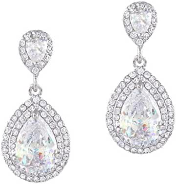 EVER FAITH Women's Cubic Zirconia Crystal Wedding Tear Drop Earring Silver-Tone
