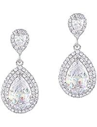 Women's Cubic Zirconia Crystal Wedding Tear Drop Earrings Silver-Tone