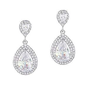 EVER FAITH Women's Cubic Zirconia Crystal Wedding Tear Drop Earrings Clear Silver-Tone