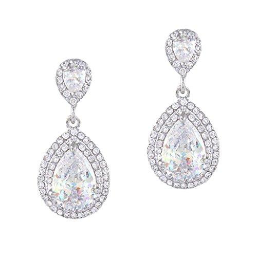 EVER FAITH Women's Cubic Zirconia Crystal Wedding Tear Drop Earrings Clear Silver-Tone -