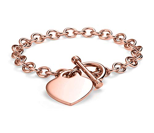 Verona Jewelers Womens Gold Plated Link Toggle Heart Charm Bracelet- (Rose-Gold)