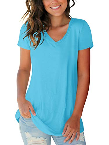 Juniors Tops Short Sleeve Shirts Trendy Spring Tee Tops Solid Lake Blue L