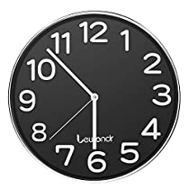 Lewondr Wall Clock, 12 inch Round Silent Clock, Battery Operated Non-Ticking Modern Clock for Home, Living Room, Classroom - Black