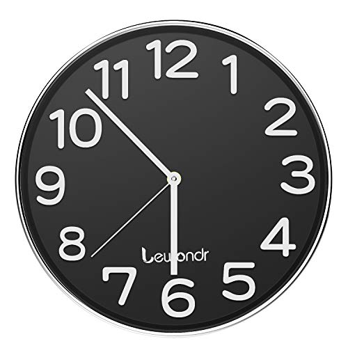 (Lewondr Wall Clock, 12 Inch Round Silent Decorative Clock, Battery Operated Non-Ticking Modern Clock with Big 3D Number for Home, Living Room, Classroom - Black)