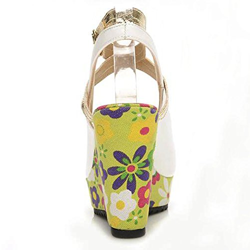 Azbro Mujer Lindas Sandalias Florales Tacón Cuña con Puntera Abierta Ciánico