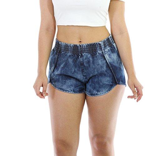 Tengo Women Casual Sexy Soft Fabric Elastic Waist Stretch Denim Shorts Short Jeans Pants(Blue,XL)