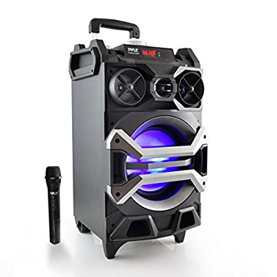 Pyle Wireless Portable PA Speaker Sound System Bluetooth Karaoke , Built-in Battery, Wireless Microphone,Mic Talk-Over & Recording Ability, MP3/USB/SD/FM Radio (PWMA325BT) from Sound Around