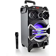 "Pyle 500 Watt Outdoor Portable Bluetooth Karaoke Speaker System - PA Stereo with 8"" Subwoofer, DJ Lights Rechargeable Battery Wireless Microphone, Recording Ability, MP3/USB/SD/FM Radio - PWMA325BT"