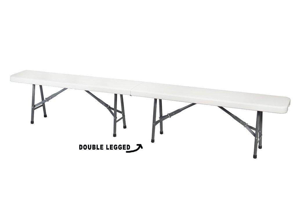 Ontario Furniture- White Plastic Portable Folding Bench for Indoor/Outdoor Garden, Picnic, party, 8'