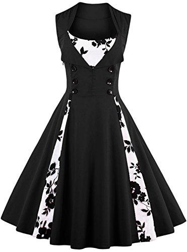 Jiuzhoudeal Women's 1950s Vintage Sleeveless Retro Swing Party Classy Dress (Medium, Black-Floral)