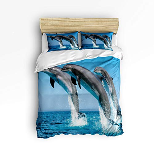 Dolphin Bamboo Patterns - YEHO Art Gallery Soft Duvet Cover Set Bed Sets for Children Kids Girls Boys,Funny 3D Dolphin Animal Pattern Bedding Sets Home Decor,1 Comforter Cover with 2 Pillow Cases,Full Size