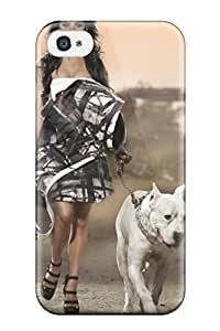 Popular Iphone New Style Durable Iphone 4/4s Case Ina Walking With His White Dog