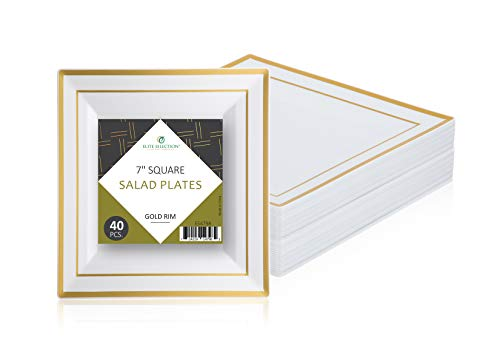 Square Plates 7 Dessert (Disposable Plastic Plates Pack Of (40) Elegant Salad/Dessert Plates - Square Plates -7