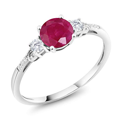 Gem Stone King 10K White Gold Diamond Accent 3-stone Engagement Ring set with Red Ruby White Created Sapphire 1.15 cttw (Size 5)