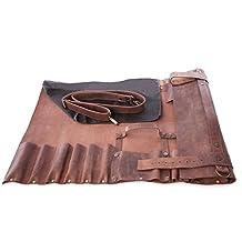 Lightweight Premium Vintage Tan Leather Chef Knife Bag/Chef Knife Roll 8 Pockets