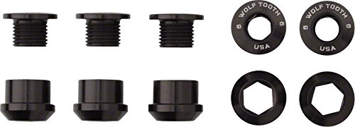 Wolf Tooth Components Chainring Bolts/Nuts for 1x Black, - Nut Chainring
