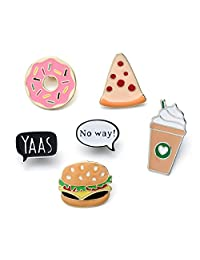6 Pcs/Pack Cute Fast Food Donut Pizza Burger Coffee Metal Enamel Pin Badge Set