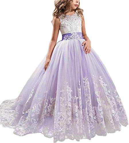 NNJXD Girls Princess Lilac Pageant Long Dress Kids Tulle Prom Ball Gowns Size (150) 9-10 Years Purple ()